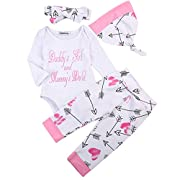 Newborn Girls Clothes Baby Romper Outfit Pants Set Long Sleeve Winter Clothing (6-9Months, Rose)