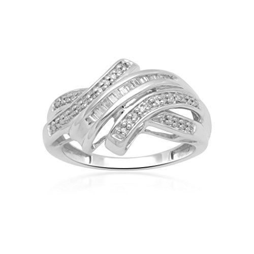 Jewelili Sterling Silver 1/4cttw Baguette and Round Diamond Crossover Ring, Size 7