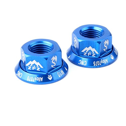 (Bike Accessories,Dartphew 2Pcs/1Pair Bicycle Hub Nut,M10 Folding Dead Fly Hub Nut 7075 Aluminum Alloy Screw,Light weight- High strength- No rust for Outdoor Hiking Camping Cycling(Fashion) (Blue))