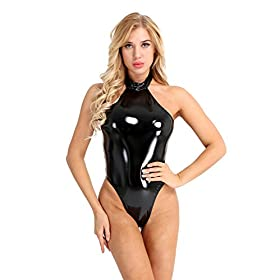 Inhzoy Womens Sexy Shiny Metallic Patent Leather Halter Backless Thong Leotard Bodysuit