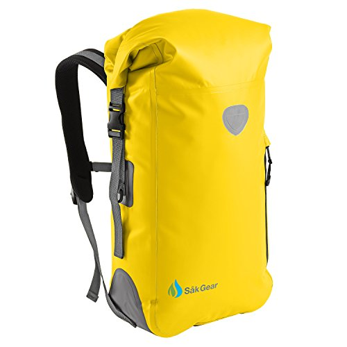 BackSak Waterproof Backpack: 500D PVC, 35L, Yellow with Welded Seams, Reflective Trim, Padded Back Support, Cushioned Adjustable Straps, Inner Zip Pocket & Splash Proof Outer Zip Pocket