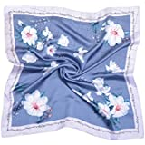 Soonfiya Women's Fashion Scarf Square Floral Pattern Satin Headscarf