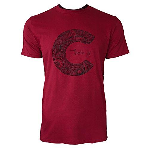 SINUS ART ® Dekorativer Buchstabe C Herren T-Shirts in Independence Rot Fun Shirt mit tollen Aufdruck