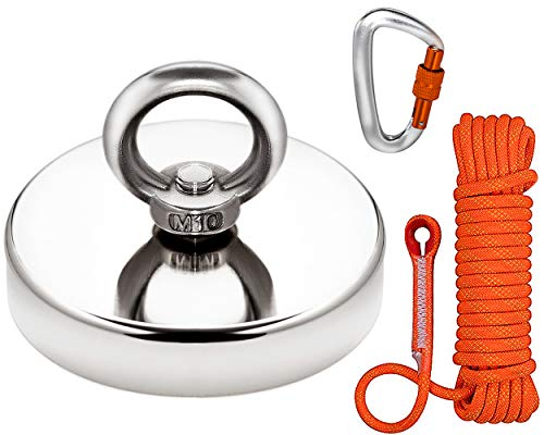 Super Strong Fishing Magnet   880 lbs Pulling Force Rare Earth Neodymium Magnet with Countersunk Hole and Eyebolt   Diameter 3.54 inch (90mm) with 8mm 65 feet Climbing Rope and 12KN Locking Carabiner