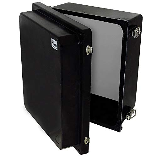 Altelix 14x12x8 Stealth Black FRP Fiberglass NEMA 4X Box Weatherproof Enclosure with Aluminum Equipment Mounting Plate, Hinged Lid & Stainless Steel Latches