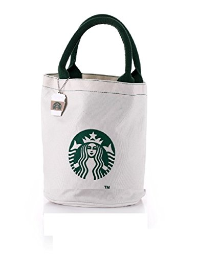 Starbucks Coffee Canvas Pail-Type Bag with Charm White