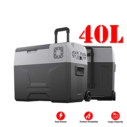 JASSCOL 40L Portable Freezer Cooler AC/DC Compressor Refrigerator Fridge -4°F Trolley Wheels for Car Truck RV Boat Party Picnic Camping