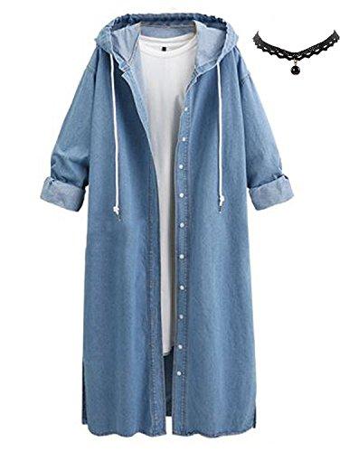 Manteau Trench en Demin Queen Printemps Jeans Femmes Veste de 2018 Coat Manches Parka Capuche Longue Blouson Bleu Longues M 2 Jean qzfwEw