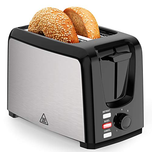 Toaster 2 Slice Wide Slot 2 Slice Toasters Best Rated Prime with Bagel/Defrost/Cancel Function, Balck Toaster Removable Crumb Tray.
