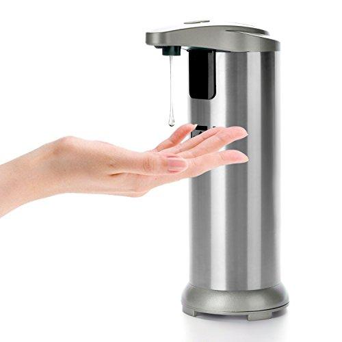 MABOLON Soap Dispenser, Touchless Automatic Soap Dispenser,304 Stainless Steel Hands-Free Motion Sensor Liquid Dish Soap Dispenser for Kitchen&Bathroom(5 Level Volume Control,Low Power Indicator)