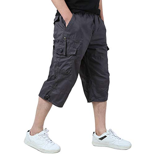 - EKLENTSON Men's Camping Shorts Cargo Baggy Shorts Loose Fit Army Outdoor Camping Summer Shorts Purplish Gray