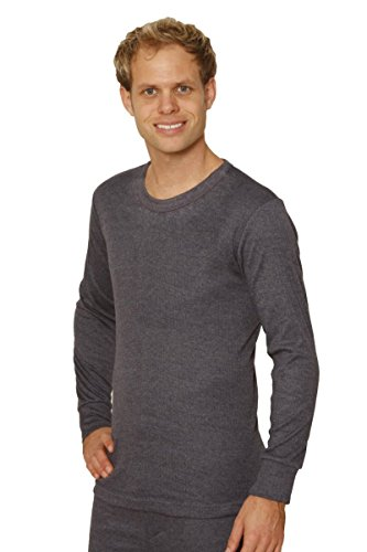 12 PACK: OCTAVE Mens Thermal Underwear Long Sleeve T-Shirt / Vest / Top (Large: Chest 40-42 inches, Charcoal) by Octave