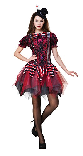 (Ladies Halloween Fancy Dress Horror Clown Costume Circus Tricksterina Outfit)