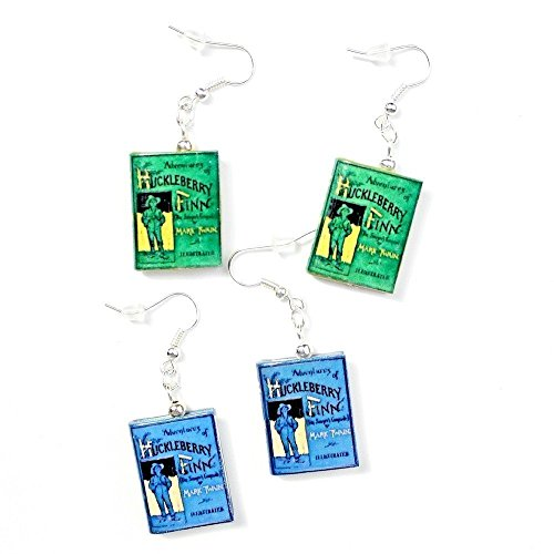 [THE ADVENTURES OF HUCKLEBERRY FINN Polymer Clay Mini Book Earrings by Book Beads Choose Your Earring] (Mark Twain Costumes)