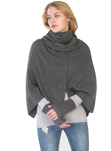 Women's 100% Cashmere Wrap Multi Use Shawl Extra Large Button Scarf by cashmere 4 U by cashmere 4 U