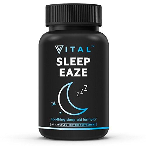 SLEEP EAZE Premium Sleep Aid - with Melatonin & Valerian Root - Sleep Well, Wake Refreshed - Non Habit Forming Sleep Supplement - Includes Chamomile, Tryptophan, Passion Flower, Lemon Balm (Aid Vitamin)