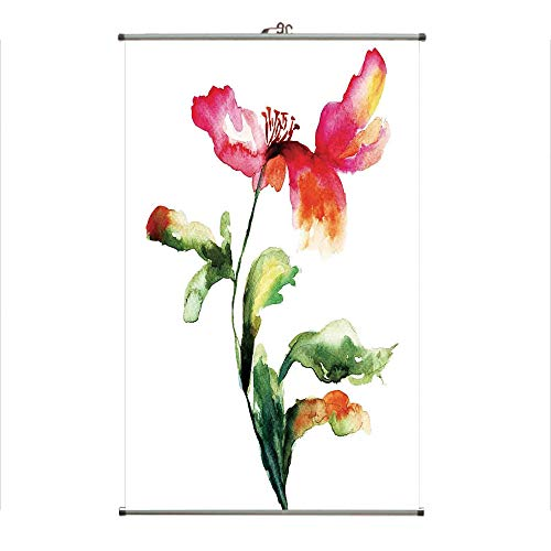 Wall Hanging Picture Wall Scroll Poster Fabric Painting,Poppy Flowering Plant Muse in The Nature Earth,3D Print Design Personality Customization Make Your Room unique23.6 X19.7