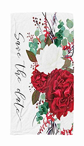 Sports Travel Towel,Wedding Save The Date Invitation Card Floral Bouquet Design with Garden Red Rose Flower 30x60 Inch Large Pool Towels for Body Bath,Swimming,Travel,Camping,Sport (Difference Between Save The Date And Wedding Invitation)