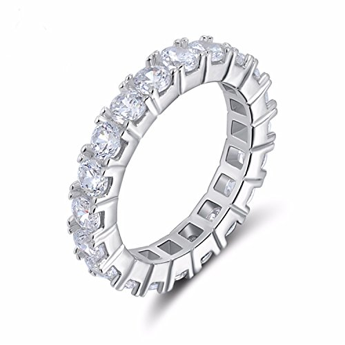 Platinum Shiraz - spyman Luxury Austrian Crystal Finger Eternity Ring With Purple Or Clear AAA Cubic Zirconia Silver Color Ring Jewelry OR31 Platinum Plated 9