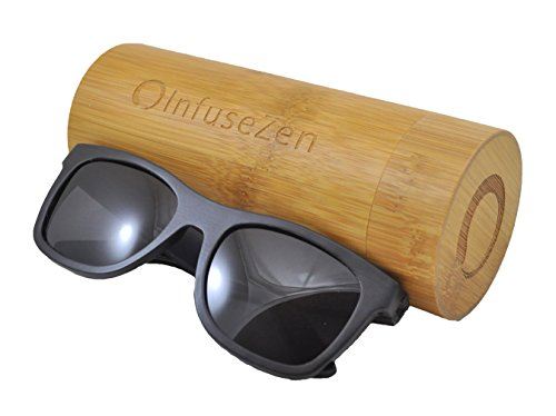 InfuseZen Bamboo Wooden Sunglasses, Wood Shades, Unisex Sun Glasses for Men or Women (Black Bamboo with Black Lens, ()