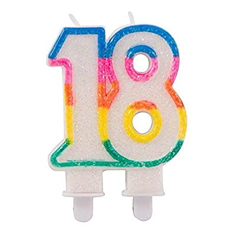 Birthday Candle Number 18 Glitter Cake Pie Decoration For Anniversary Party Or Other Special Occasions