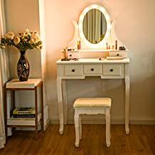 Giantex Vanity Dressing Table Set with Makeup Mirror, with 12 LED Lights Removable Top Organizer Muti-Functional Writing Desk Padded Stool, Bedroom Vanities Tables with Benches (White 5 Drawers)