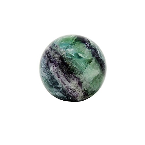 Rainbow Fluorite Sphere Crystal Stone Carved Mineral Ball, Healing Meditation Energy Focus Green Stone (Medium) by The Nifty Nook