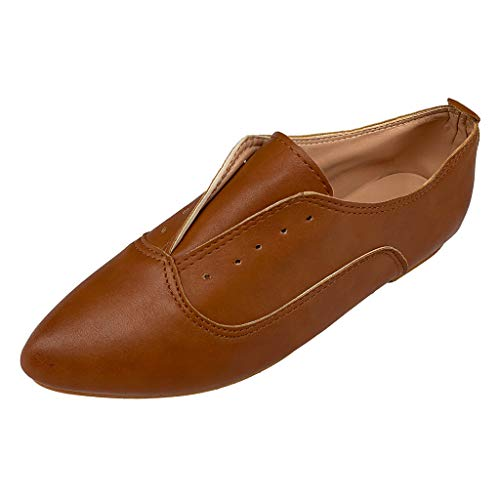 Women's Ballet Shoe Flat Enamel Pointed Toe Oxford Retro Casual Comfort Classic Slip Ons Lace-Up Loafer Brown
