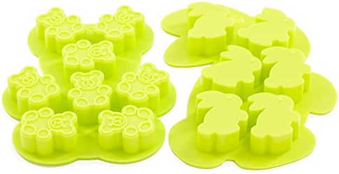 Silicone Candy Molds, Boieo Non-stick Easter Bunny & Bear Silicone Baking Mold for Cookie, Cake, Candy, Chocolate, Jelly, Fondant and Soap Making (Set of 2)