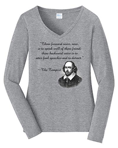 (Tenacitee Women's Shakespeare Insult Long Sleeve V Neck T-Shirt, X-Large, Heather Grey)