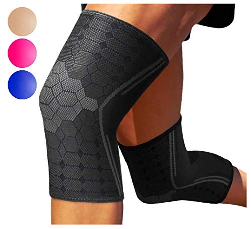 Sparthos Knee Compression Sleeves (Pair) – Support Sports, Running, Joint Pain Relief – Knee Brace Men Women – Knee Sprains Strains Arthritis Ligament Injury Recovery (Black-S) ()