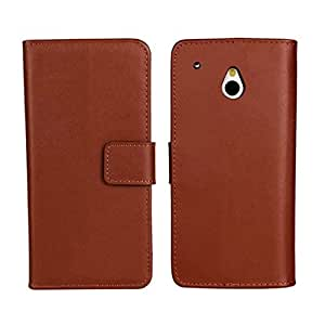 Flyshell Cowskin Flip Leather Wallet Card Pouch Stand Back Case Cover For HTC One Mini M4 Brown