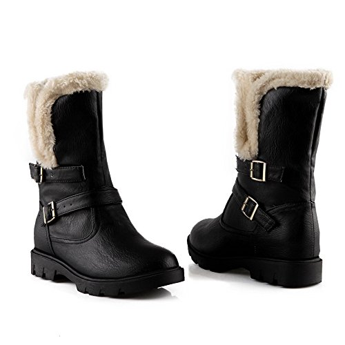 Black Pull Mykt Kattunge Solid Boots Lav Materiale Allhqfashion Hæler on top Kvinners qAp8RwP