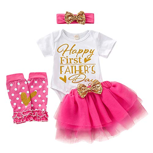 Father's Day Baby Girl Outfit Short Sleeve Romper Tutu Dress with Bow-Knot Headband Leg Warmers Clothes Set (6-12 Months, Pink) ()