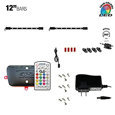"Cyron True LED MULTICOLOR RGB TV Back Light Kit, Under Cabinet Counter Lighting, Video Production Light, Wireless Remote, Smart Controller, 360 Degrees Rotatable, ETL Listed, Two 12"" LED Bars"