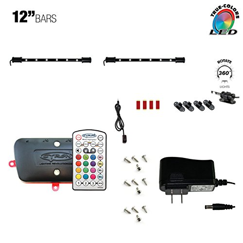 - Cyron RGB LED Under Counter Cabinet Dimmable Multicolor Light TV Kitchen Accent Lighting Kit, Advanced Series Controller, 360 Degrees Rotatable, ETL Listed, 2 x 12 Inch LED Light Bars