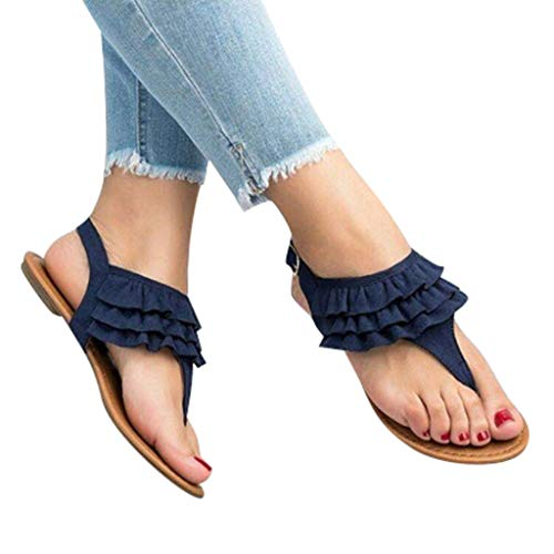 Cenglings Women's Casual Clip Toe T-Strap Sandals Flats Flip Flop Ankle Buckle Slingback Summer Ruffle Party Beach Shoes Blue