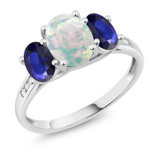 Sapphire Cabochon Ring (10K White Gold Diamond Accent Cabochon White Simulated Opal Blue Sapphire 3-Stone Ring 1.95 Ct, Available in size (5,6,7,8,9))