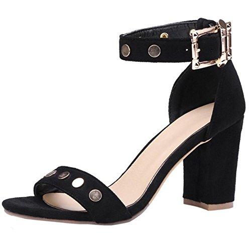 Black Femmes TAOFFEN Ouvert Classique Bout 3 Sandales W1WqwnXdBc