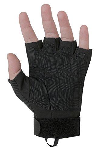 Seibertron S.O.L.A.G Special Ops/Operations 1/2 Finger Light Assault Gloves Tactical Fingerless Half Finger Gloves Black Adult/Youth (Black, Adult M)