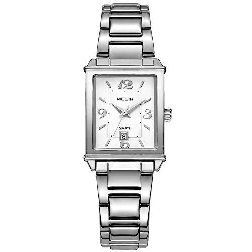 Womens Stainless Steel Analog Quartz Wrist Watches for Ladies Girls (Calendar, (Ladies Calendar Watch)