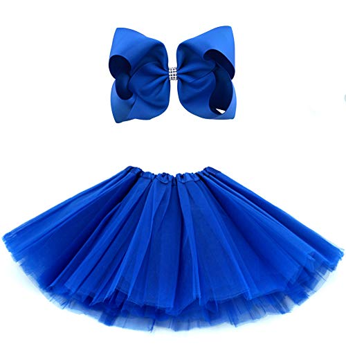 BGFKS 5 Layered Tulle Tutu Skirt for Girls with Hairbow and Hairties, Ballet Dressing Up Kid Tutu Skirt (Dark Blue, 2-8 Years Old) -