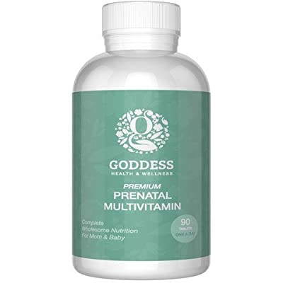 Premium Prenatal Vitamins by Goddess (90 Count - 3 Month Supply) Just One Tablet A Day - 800 mg Folic Acid - No Soy, Gluten Free - No Nausea, No Smell, No Taste, Promotes Healthy Baby, Hair, Nails and Skin - Made in USA