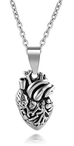 Silver Tone Anatomical Human Heart Pendant Necklace For Women Stainless Steel Jewelry Gifts