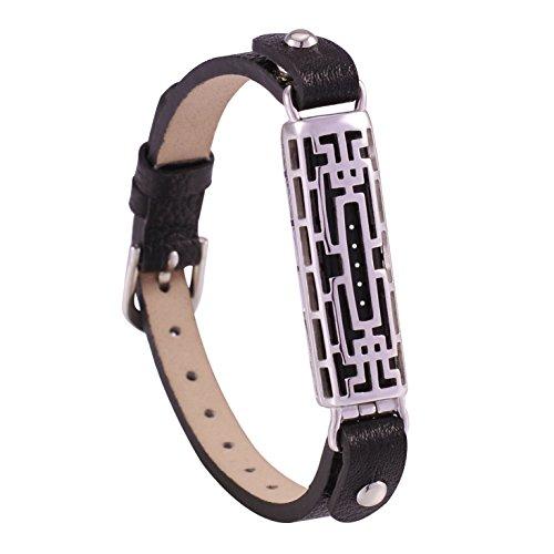 - GHIJKL Compatible Fit bit Flex 2 Bands, Fit bit Accessories Wristband for Flex2 Metal and Leather Bangle-Bracelet Style