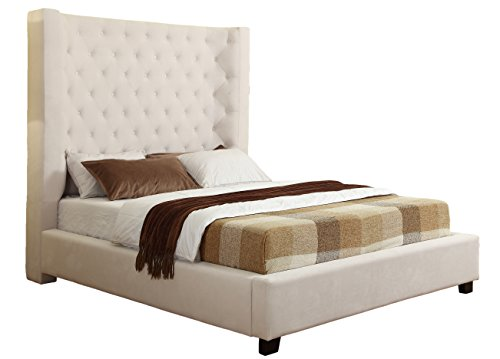 Curved Panel Low Profile Bed (Best Master Furniture YY128 Jamie Upholstered Tower Contemporary Bed, Queen, Cream)