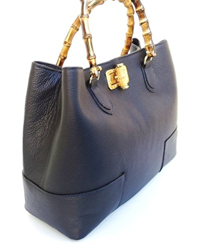 Genuine Italy In Handles Made Dark Handbag Jungle Model Superflybags Blue Leather Women's Bamboo AxZpqpv