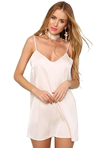 Choies Women's Light Pink Sexy Plunge Choker Tie Satin Cami Strap Slip Mini Dress Smm (Silk Satin Tie Dress)