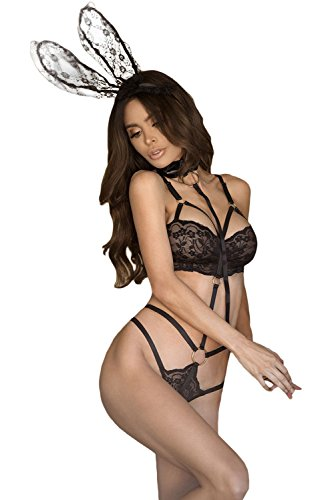 OUR WINGS Women 3pcs Roleplay Bunny Lace Playsuit with Collared Leash L (Sexy Bunny Lingerie)