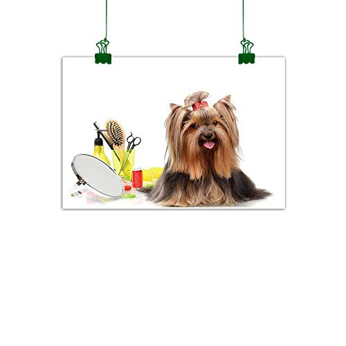 J Chief Sky Yorkie Modern Art Yorkshire Terrier with Stylish Hairdressing Equipment Mirror Scissors Wall Decor for Home Office Decorations W 32